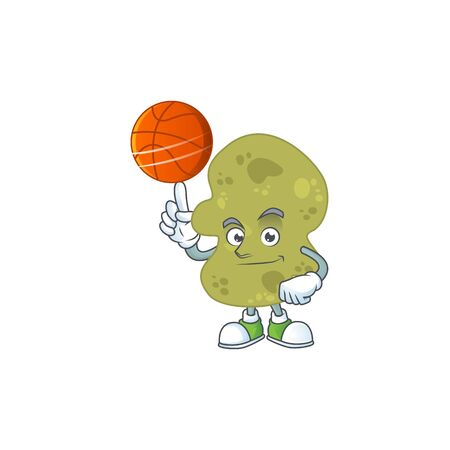 An sporty verrucomicrobia mascot design style playing basketball on league