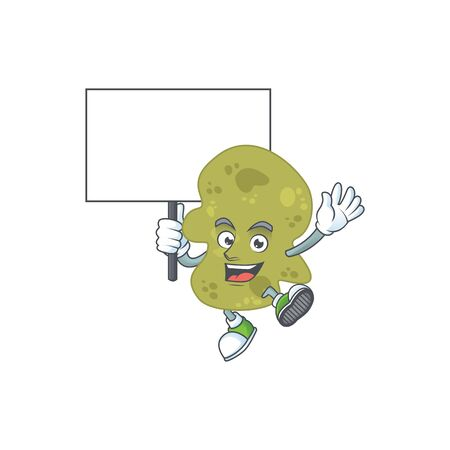 Cute verrucomicrobia mascot design smiley with rise up a board Illustration