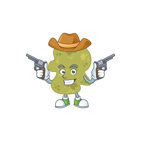 A masculine cowboy cartoon drawing of verrucomicrobia holding guns Vector Illustration
