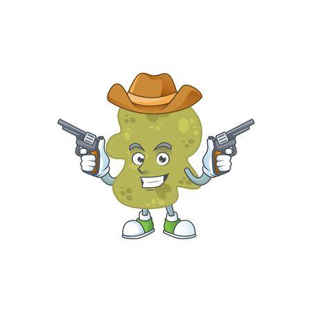 A masculine cowboy cartoon drawing of verrucomicrobia holding guns