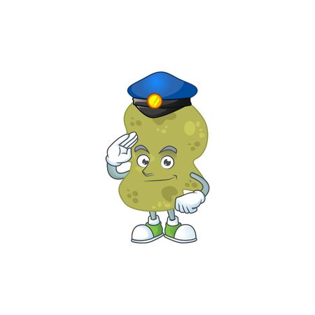 A dedicated Police officer of verrucomicrobia cartoon drawing concept