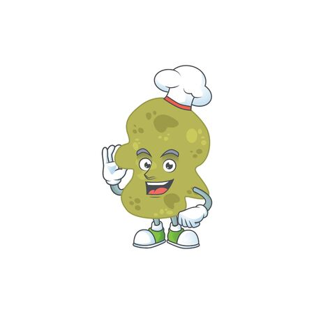 Verrucomicrobia chef cartoon drawing concept proudly wearing white hat