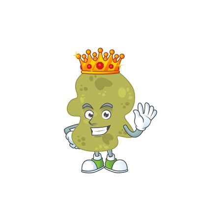 A charming King of verrucomicrobia cartoon character design with gold crown