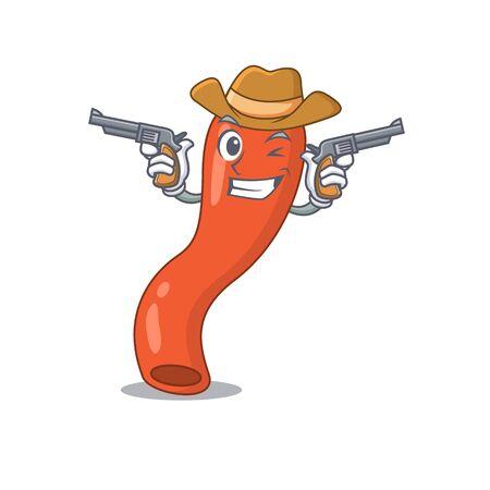 Cartoon character cowboy of appendix with guns