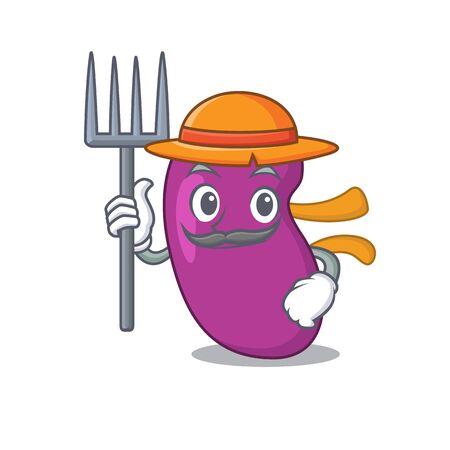 Kidney mascot design working as a Farmer wearing a hat