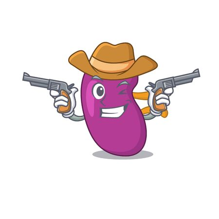 Cartoon character cowboy of kidney with guns