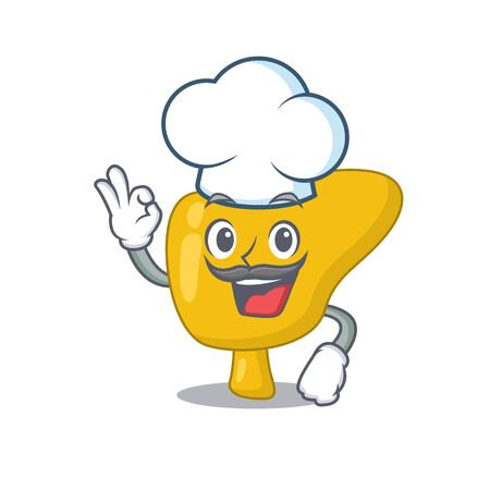 Talented liver chef cartoon drawing wearing chef hat 向量圖像