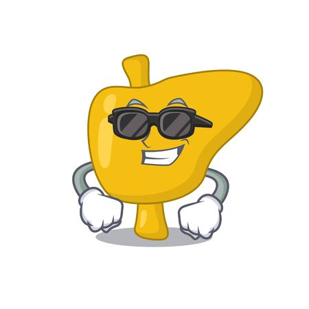 cartoon character of liver wearing classy black glasses