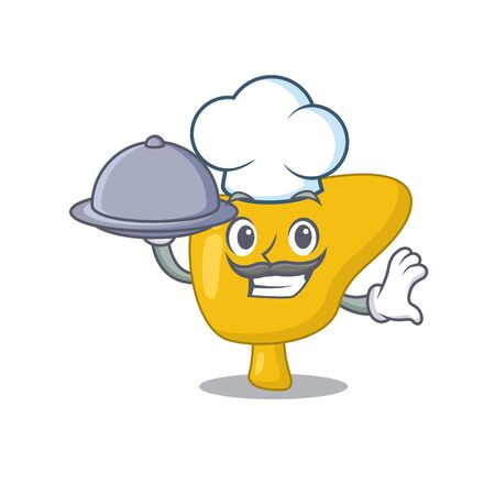 mascot design of liver chef serving food on tray