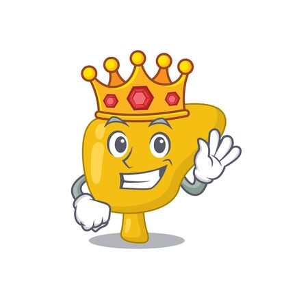 A Wise King of liver mascot design style with gold crown Иллюстрация