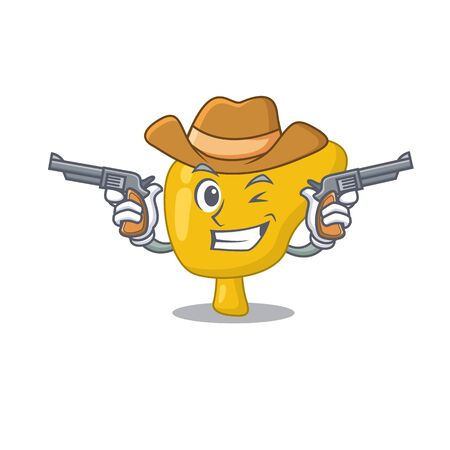 Cartoon character cowboy of liver with guns Illustration