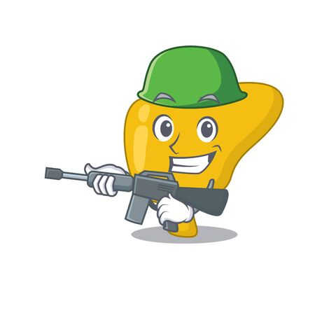 A cartoon picture of Army liver holding machine gun Ilustrace