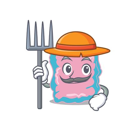 Intestine mascot design working as a Farmer wearing a hat