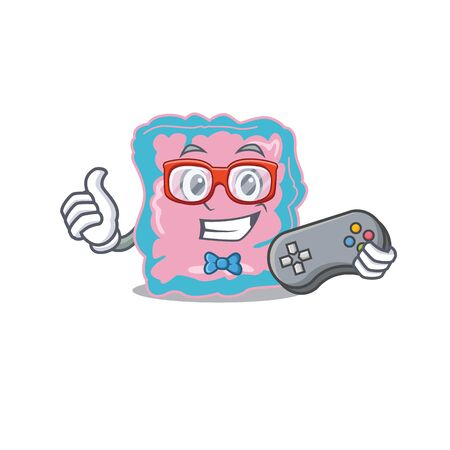 Mascot design style of intestine gamer playing with controller