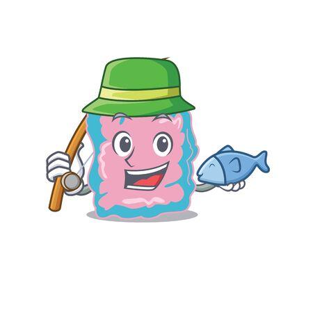Cartoon design style of intestine goes to fishing