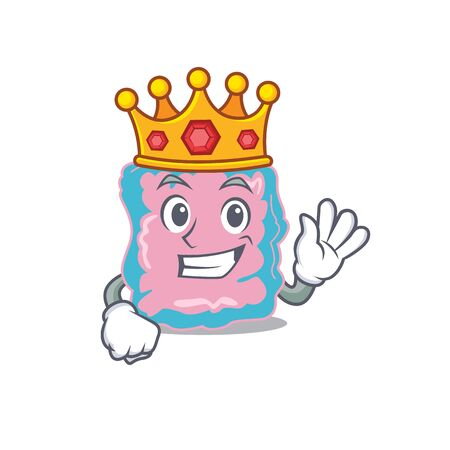 A Wise King of intestine mascot design style with gold crown