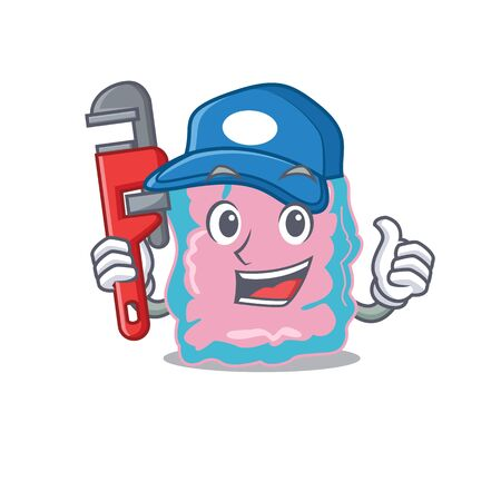 cartoon character design of intestine as a Plumber with tool