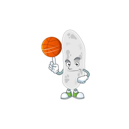 An sporty gemmatimonadetes mascot design style playing basketball on league. Vector illustration