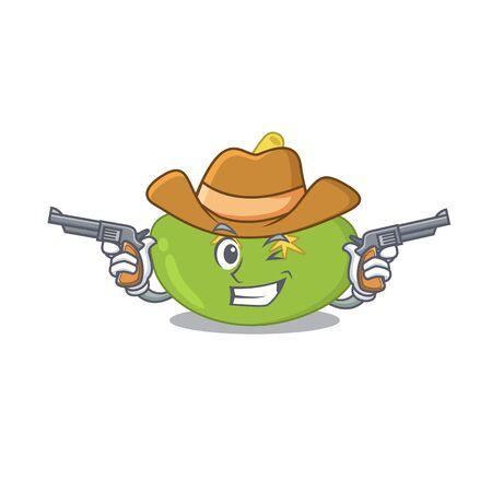 Cartoon character cowboy of spleen with guns