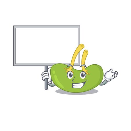 Cartoon picture of spleen mascot design style carries a board