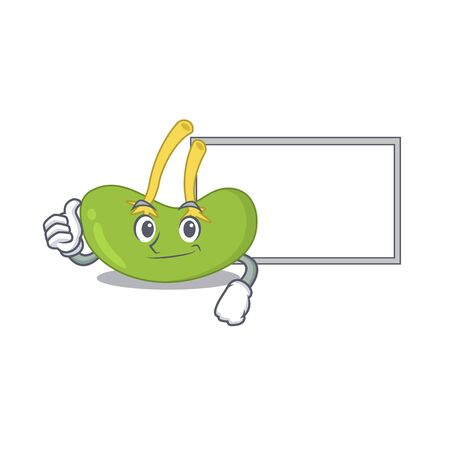 Spleen cartoon design with Thumbs up finger bring a white board