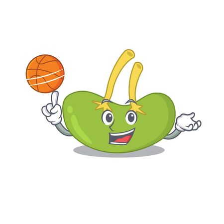 Sporty cartoon mascot design of spleen with basketball