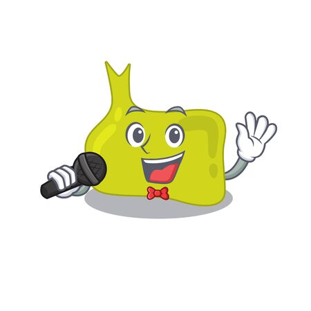 cartoon character of pituitary sing a song with a microphone