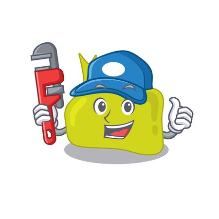 cartoon character design of pituitary as a Plumber with tool