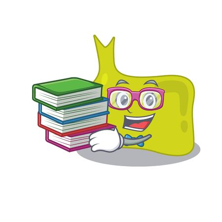 A diligent student in pituitary mascot design concept read many books Illustration