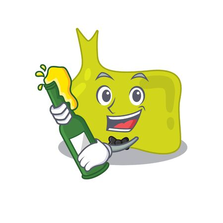 caricature design concept of pituitary cheers with bottle of beer Illustration