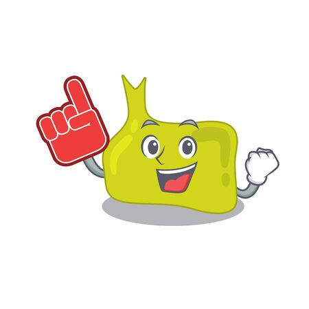 Pituitary in cartoon drawing character design with Foam finger Illustration