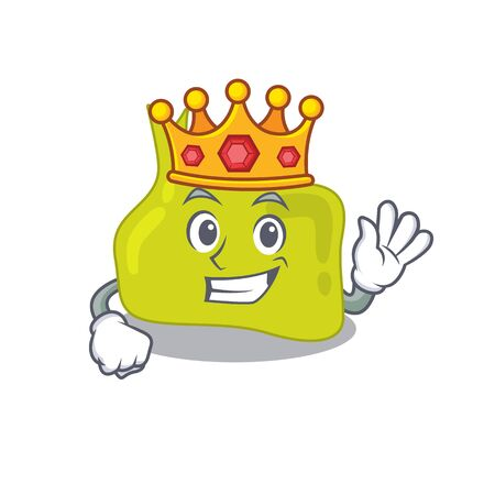 A Wise King of pituitary mascot design style with gold crown Illustration