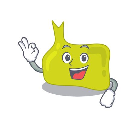 Pituitary mascot design style showing Okay gesture finger. Vector illustration
