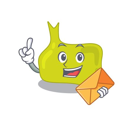 A picture of cheerful pituitary cartoon design with brown envelope. Vector illustration