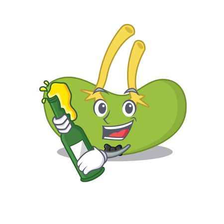 caricature design concept of spleen cheers with bottle of beer. Vector illustration