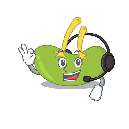 A stunning spleen mascot character concept wearing headphone