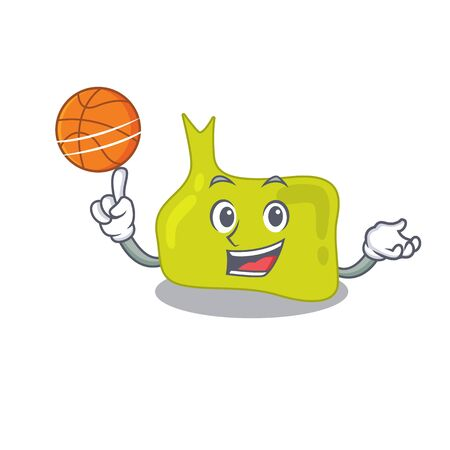 Sporty cartoon mascot design of pituitary with basketball