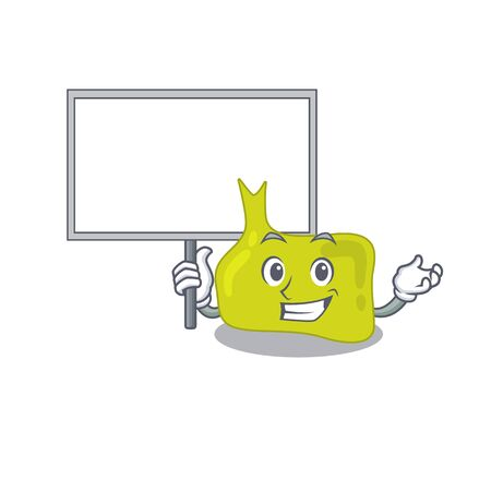 Cartoon picture of pituitary mascot design style carries a board