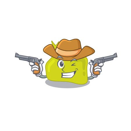 Cartoon character cowboy of pituitary with guns. Vector illustration