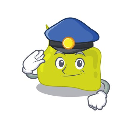 Police officer cartoon drawing of pituitary wearing a blue hat. Vector illustration