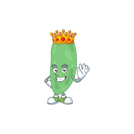 A charming King of thermus thermophilus cartoon character design with gold crown. Vector illustration