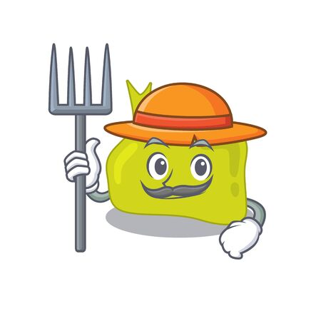 Pituitary mascot design working as a Farmer wearing a hat Illustration