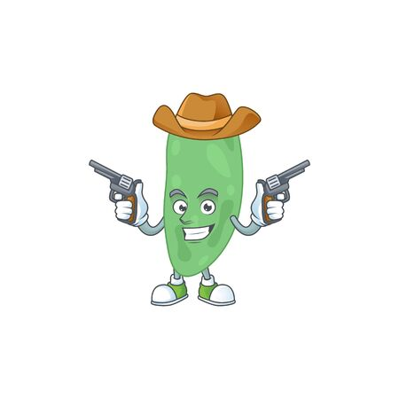 A masculine cowboy cartoon drawing of thermus thermophilus holding guns. Vector illustration