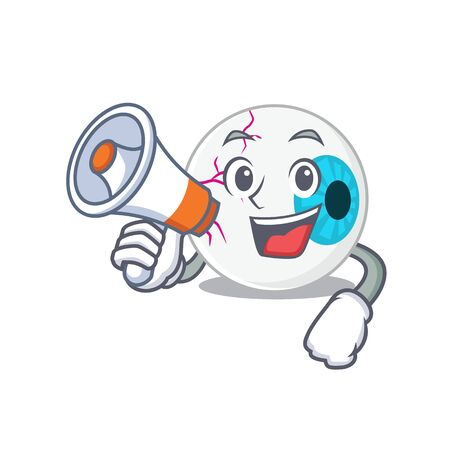 Mascot design of eyeball announcing new products on a megaphone Vectores