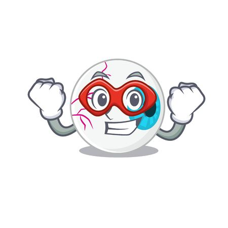 A cartoon drawing of eyeball in a Super hero character