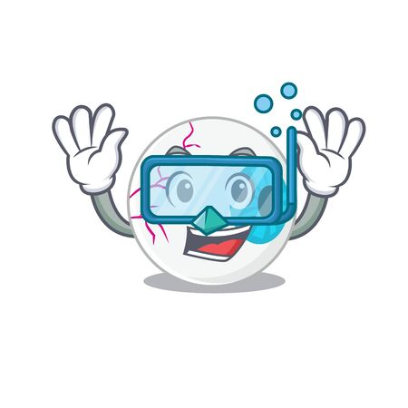 Eyeball mascot design swims with diving glasses