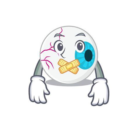 Eyeball cartoon character style having strange silent face Illustration