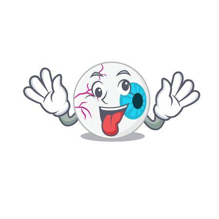 A mascot design of eyeball having a funny crazy face
