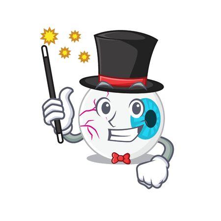 A gorgeous smart Magician of eyeball cartoon design style