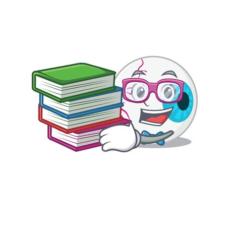 A diligent student in eyeball mascot design concept read many books Illustration